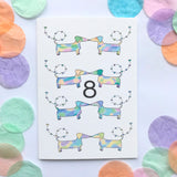 "Number 8 ""SAUSAGE DOGS"" Birthday Card"