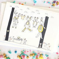 Baby Clothesline Card- Pink/Blue/Yellow