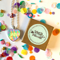 Necklace - Love Heart - Rainbow Pattern