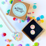 Jewellery Gift Set - Clip On Earrings and Necklace - Rainbow Sprinkles