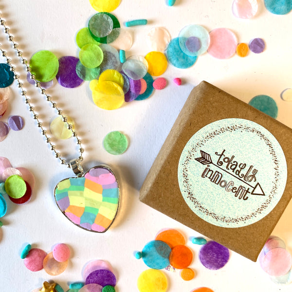 Necklace - Love Heart - Rainbow Block
