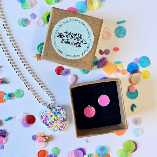 Jewellery Gift Set - Clip On Earrings and Necklace - Rainbow Sprinkles/Hot pink