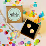 Jewellery Gift Set - Clip On Earrings and Necklace - Rainbow Marble