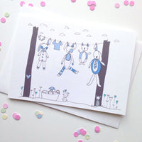 Baby Clothesline Card- Pink or Blue