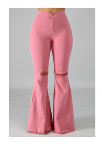 Pink High Waist Bell Bottom Jeans
