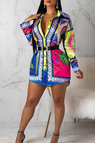 Multi-Color Print Shirt Dress