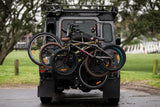 4 bike rack on 4WD with rear spare tire