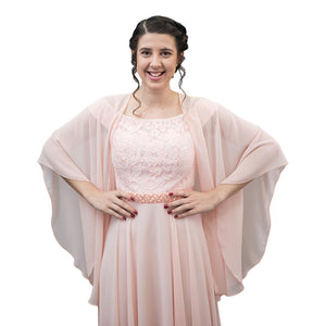 Chiffon U Wrap with Diamante Scarf Ring Set (Blush)