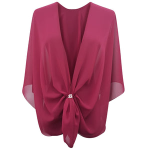 Chiffon U Wrap with Diamante Scarf Ring Set (Claret)