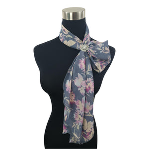 Chiffon Neck Scarf and Ring Set (Denim Floral)