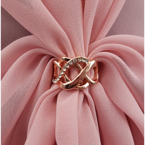 Chiffon U Wrap with Diamante Scarf Ring Set (Dusty Rose)