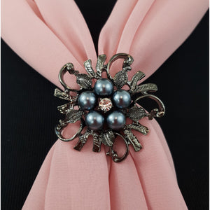 Pewter Pearl Triple Scarf Ring - (Med Rings)