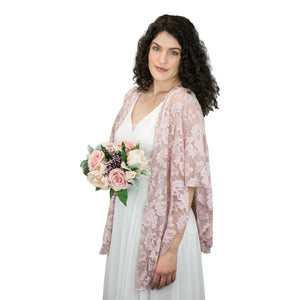 Bohemian Lace U Wrap & Diamante Scarf Ring (Dusty Rose)