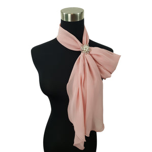 Chiffon Neck Scarf and Ring Set (Dusty Rose)