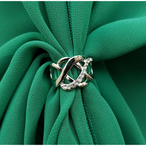 Chiffon U Wrap with Diamante Scarf Ring Set (Emerald)