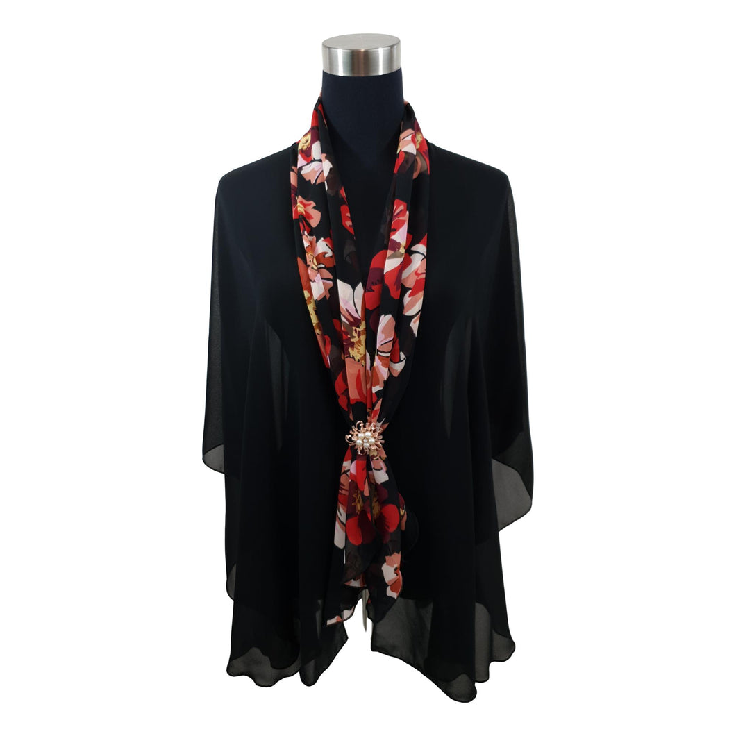 Chiffon Neck Scarf and Ring Set (Floral Flame)