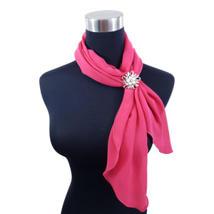 Chiffon Neck Scarf and Ring Set (Hot Pink)