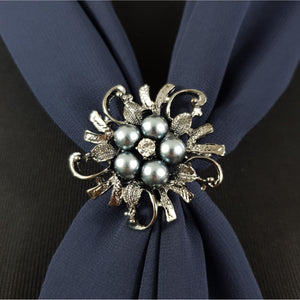 Chiffon Neck Scarf and Ring Set (Navy)
