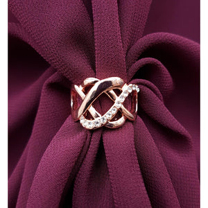 Chiffon U Wrap with Diamante Scarf Ring Set (Burgundy)