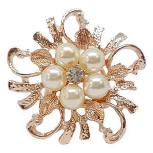 Rose Gold Pearl Triple Scarf Ring - (Med Rings)