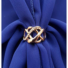 Chiffon U Wrap with Diamante Scarf Ring Set (Royal)