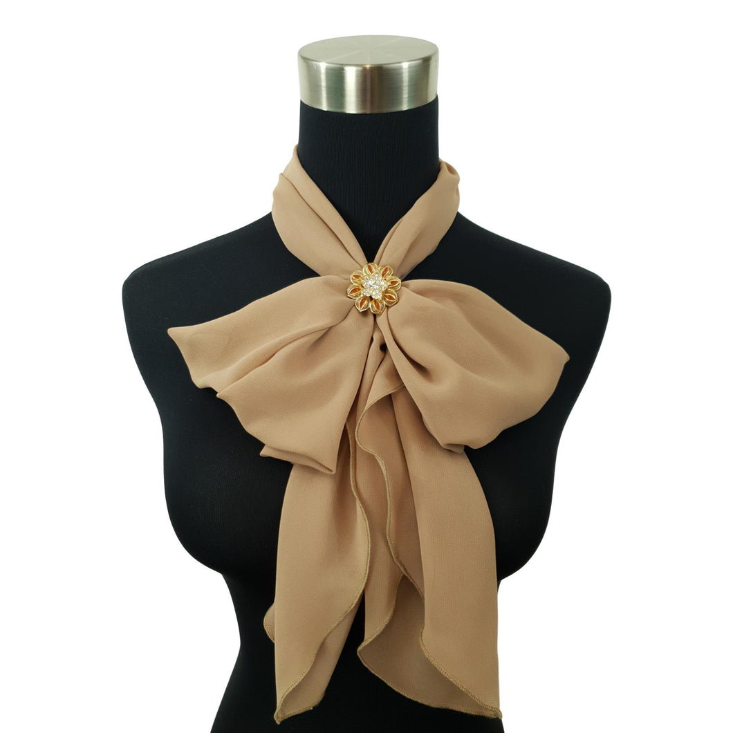 Chiffon Neck Scarf and Ring Set (Nude)