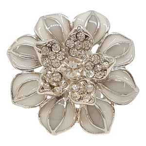 Silver Flower Scarf Ring - Sm