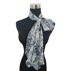 Chiffon Neck Scarf and Ring Set (Blue Floral)
