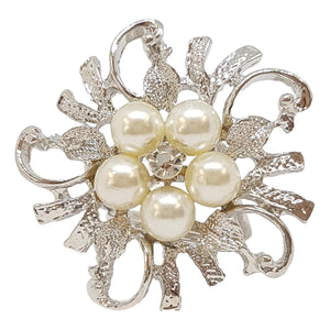 Silver Pearl Triple Scarf Ring - (Med Rings)