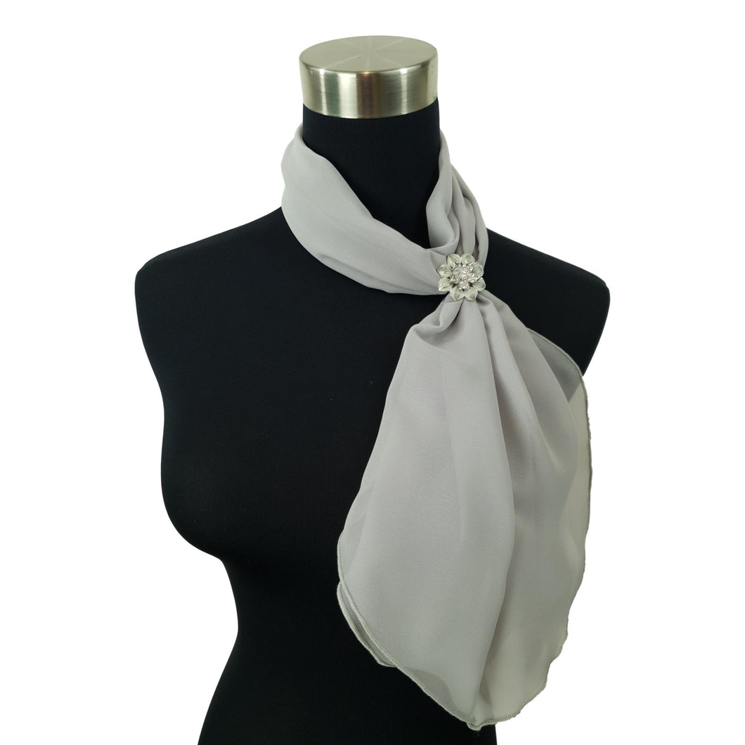 Chiffon Neck Scarf and Ring Set (Silver Grey)