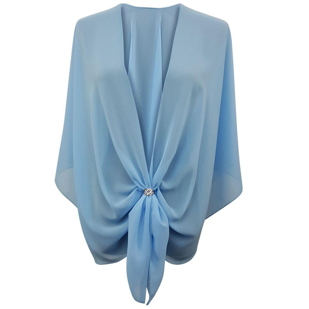 Chiffon U Wrap with Diamante Scarf Ring Set (Sky Blue)