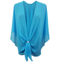 Chiffon U Wrap with Diamante Scarf Ring Set (Turquoise)