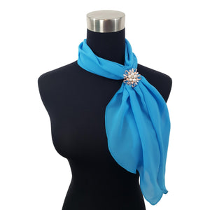 Chiffon Neck Scarf and Ring Set (Turquoise)