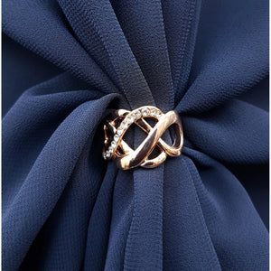Chiffon U Wrap with Diamante Scarf Ring Set (Navy)