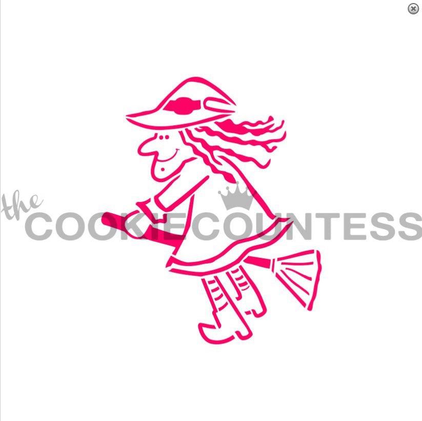 "Stencil n° 102: ""Witch on a Broom"""