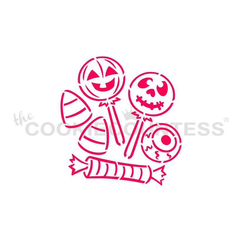 "Stencil n° 182: ""Drawn with Character Halloween Candy PYO"""
