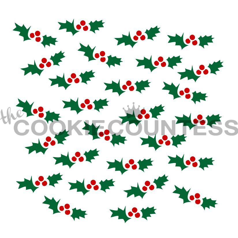 "Stencil n° 97B: ""2 Piece Holly Set"""