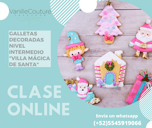 Clase online: Galletas decoradas nivel intermedio - Villa mágica de santa