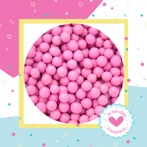 15 Sprinkles - Perlas de chocolate color rosa pastel (grandes)