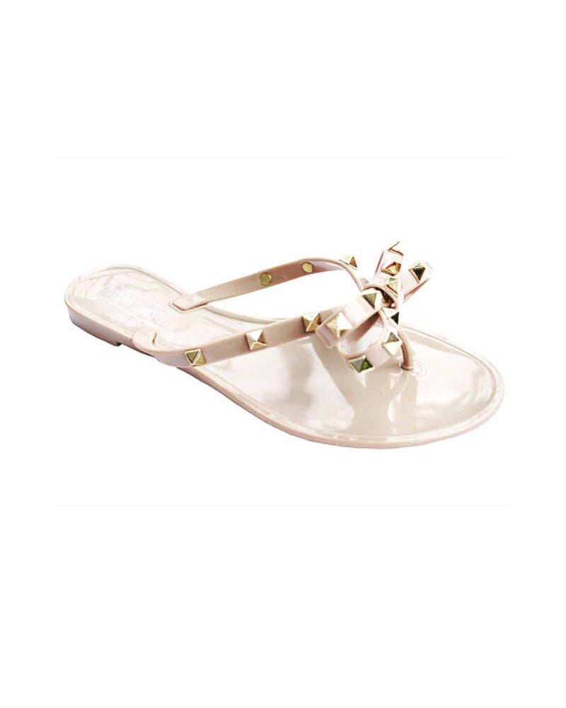 Nude Jelly Bow Gold Studded Sandal