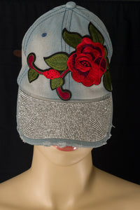 Denim and Roses Cap - Magnolia Lace Boutique