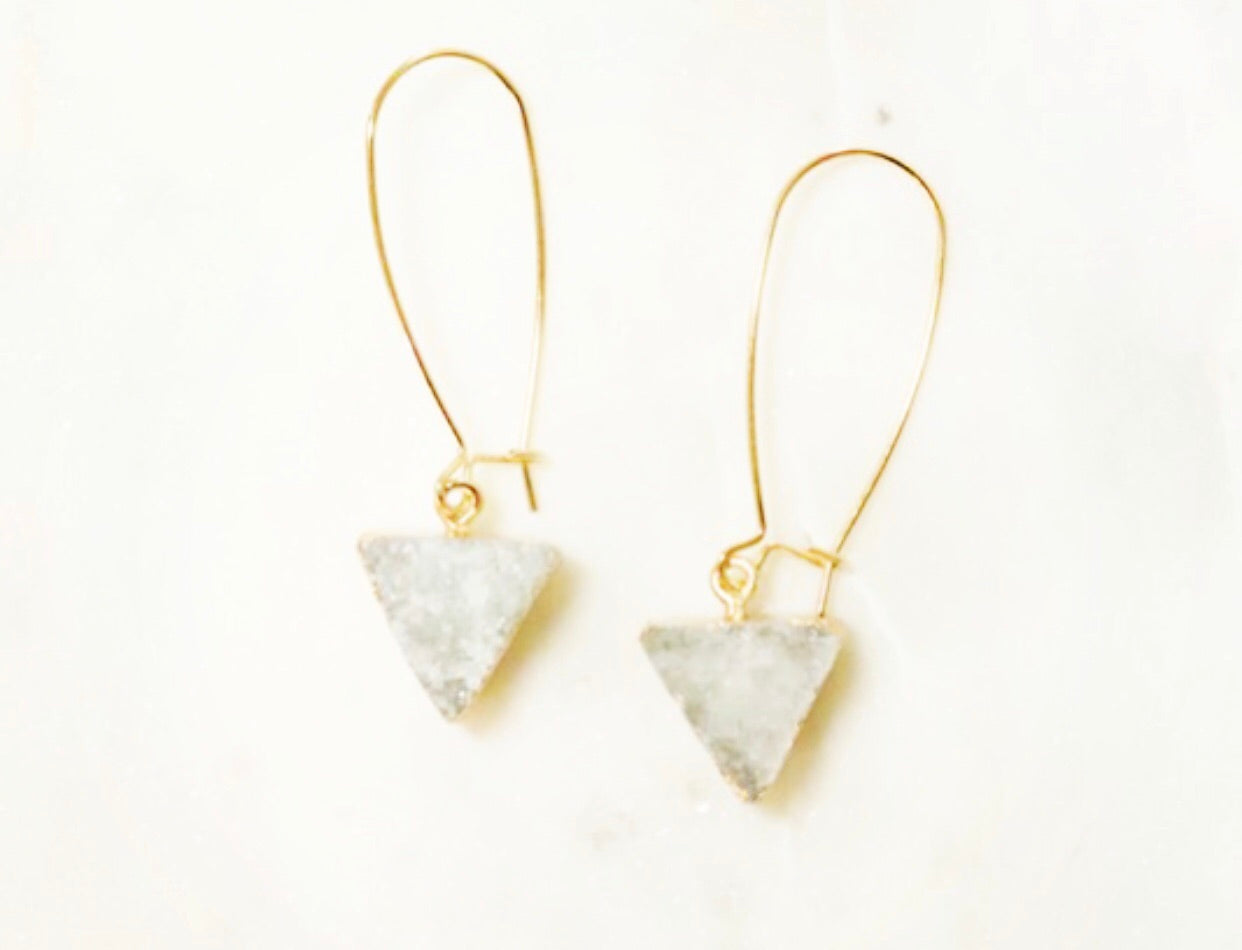 Natural Druzy Gold Tone Drop Earrings- White