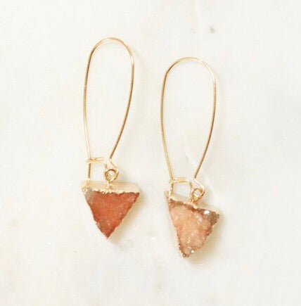 Natural Druzy Gold Tone Drop Earrings- Amber