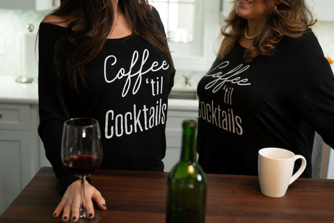 Coffee 'til Cocktails raw edge sweatshirt (Missy + Curvy)
