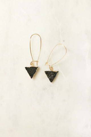 Natural Druzy Gold Tone Drop Earrings- Black
