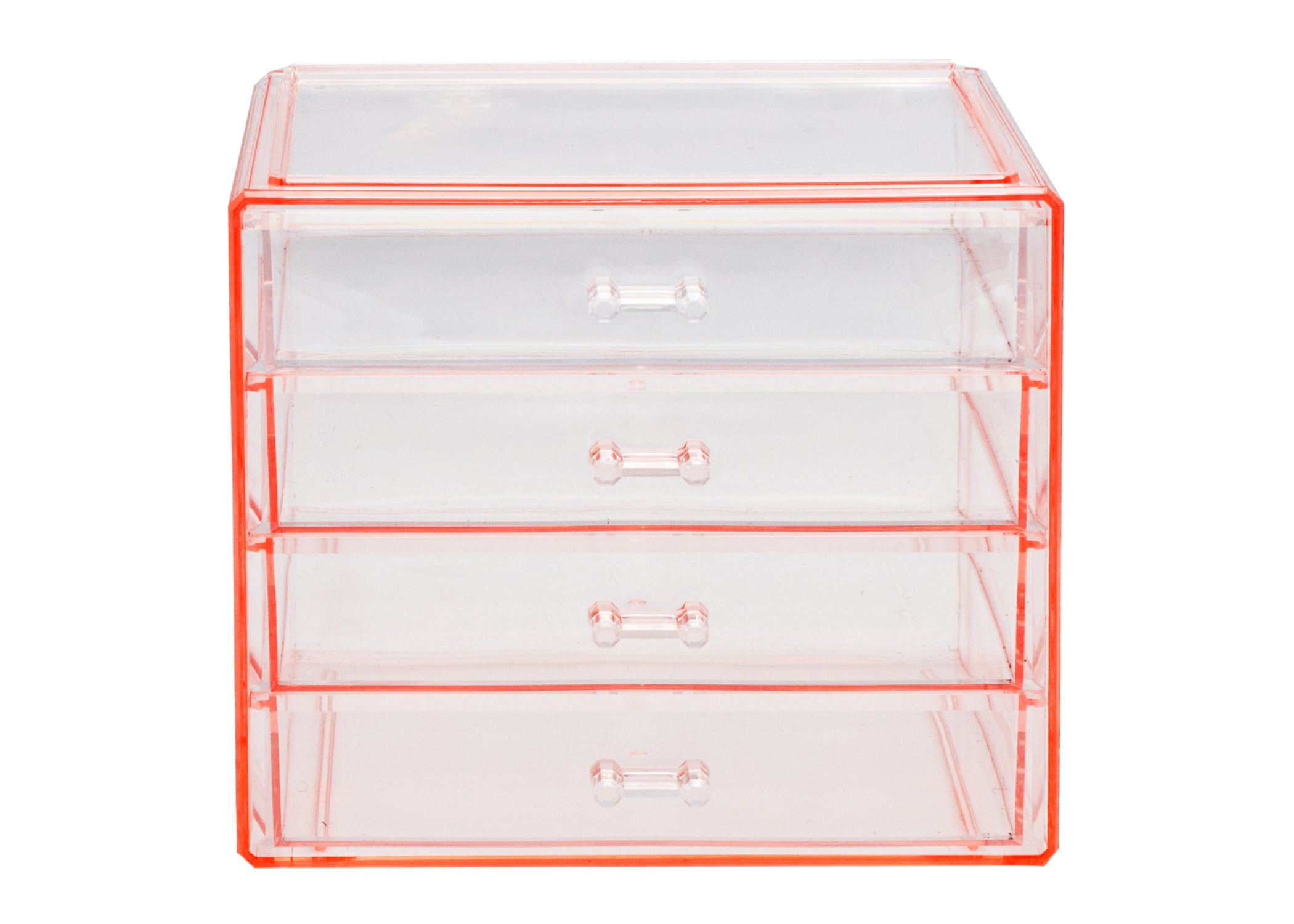 Makeup and Jewelry Cosmetic Storage Case Display - 4 Drawers - Pink
