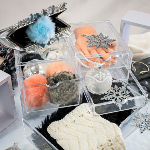 Winter Cosmetic Accessory Storage Clear Case for Scarves and Gloves