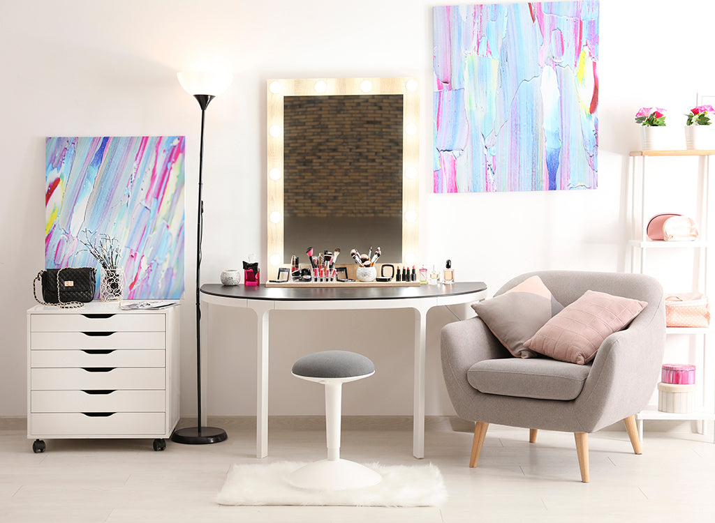 Colorful room with vanity table and comfy chair