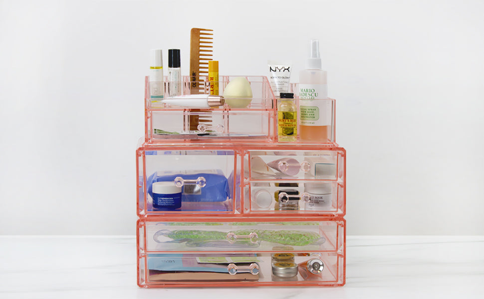large pink cosmetic organizer from sorbus beauty