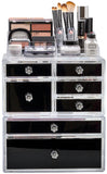 Large Deluxe Black Makeup Organizer Case - 3 Piece Set